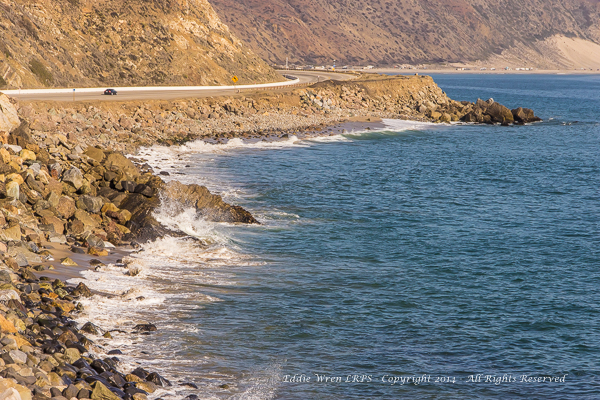 Looking southwards on the PCH, near Mugu Peak